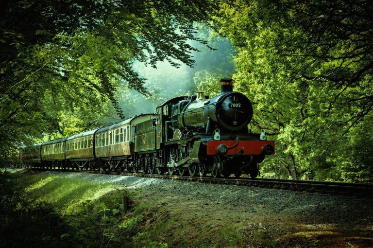 森の中を走る機関車