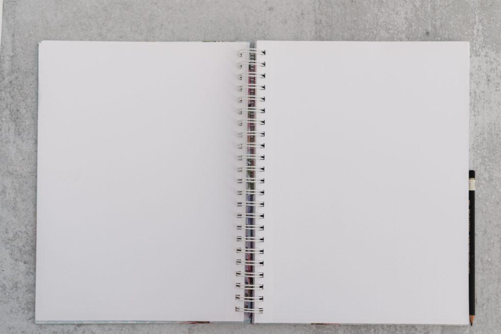 日記記事の冒頭部分に表示した真っ白なリングノート。